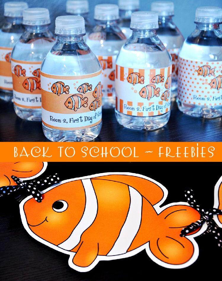 Free nemo inspired back to school party printables party for Fish party decorations