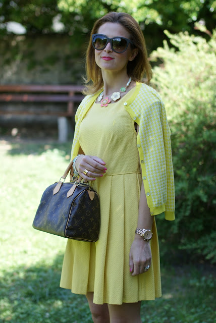 Cesare Paciotti bon ton dress, Zara yellow cardigan, LV Speedy 25, Fashion and Cookies