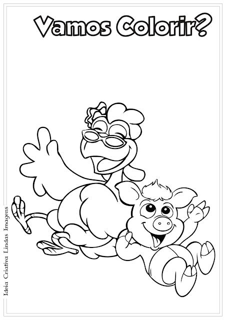 Turma do Cocoricó Zazá e Astolfo desenho para colorir