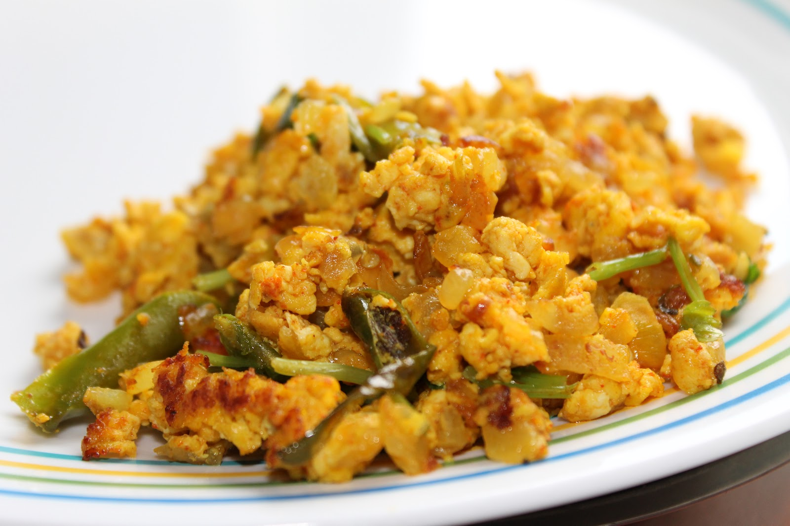 curried scrambled eggs on toast
