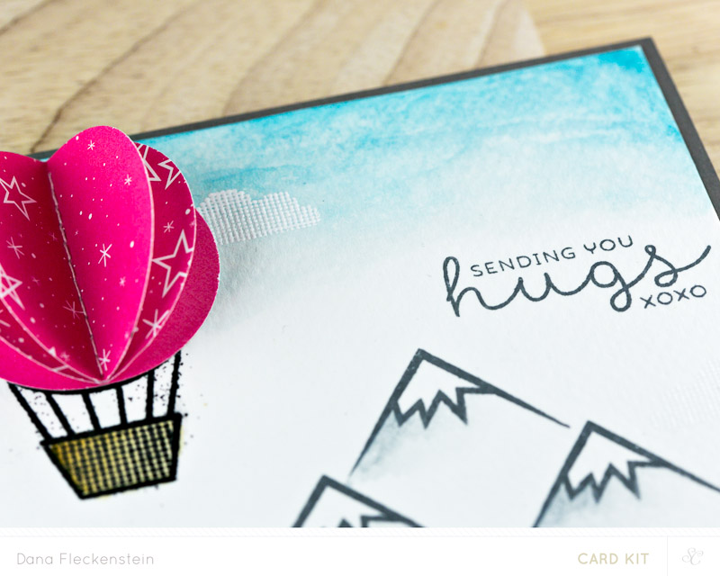 Sending You Hugs card with hot-air balloon by @pixnglue