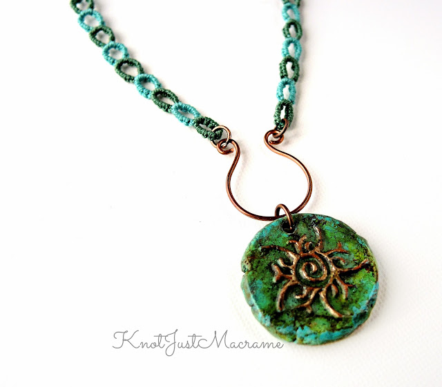 Micro macrame chain necklace by Sherri Stokey of Knot Just Macrame with pendant by Wild Raven Studio