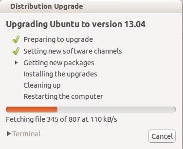 Ubuntu upgrade from 13.04 to 13.10 - Dialogs