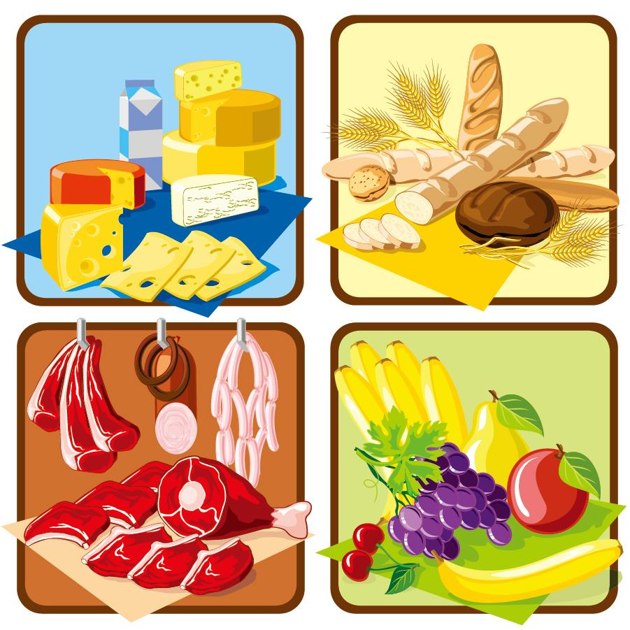 スーパーマーケット ポップ広告見本 supermarket shopping theme イラスト素材3