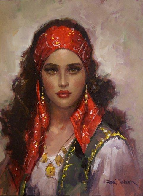Gypsy Woman Painting Remzi Taşkıran, 1961...