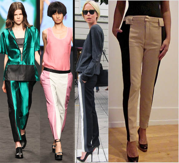two tone trousers, track trousers,diy,fashion diy,spring 2012 trends,spring 2012