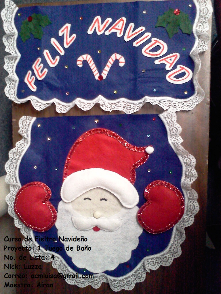 Juego De Baño Navideno De Fieltro:APRENDIENDO Y CREANDO: Mi juego de baño navideño
