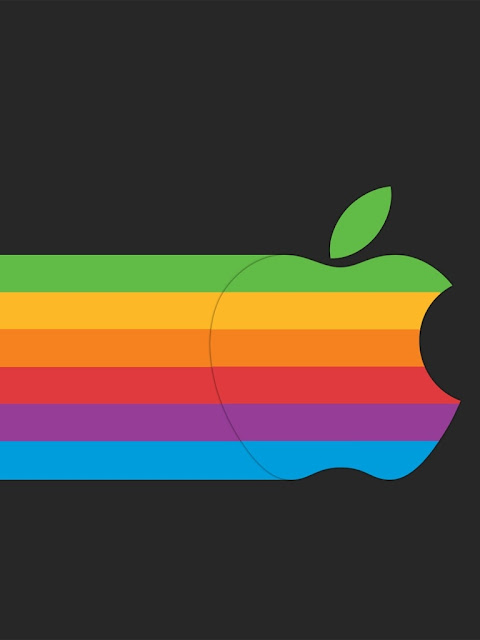 Rainbow Colored Apple Logo