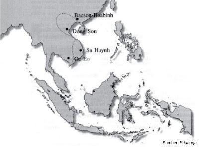 Peta pusat kebudayaan Bacson-Hoabinh, Dong Son, dan Sa Huynh di Vietnam.