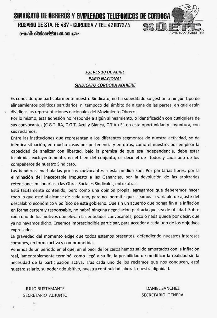 Telefónicos: El S.O.E.T.C. Córdoba (Foeesitra) Adhiere al PARO del ...