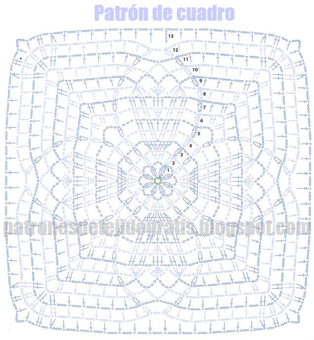 diagrama crochet de cuadro para tejer túnica