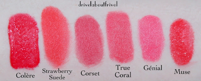 Tom Ford true coral lipstick swatches Guerlain Rouge G L'Extrait Colere, Revlon Strawberry Suede, Lancome Corset, Chanel Rouge Allure Genial, Hourglass Femme Rouge Muse