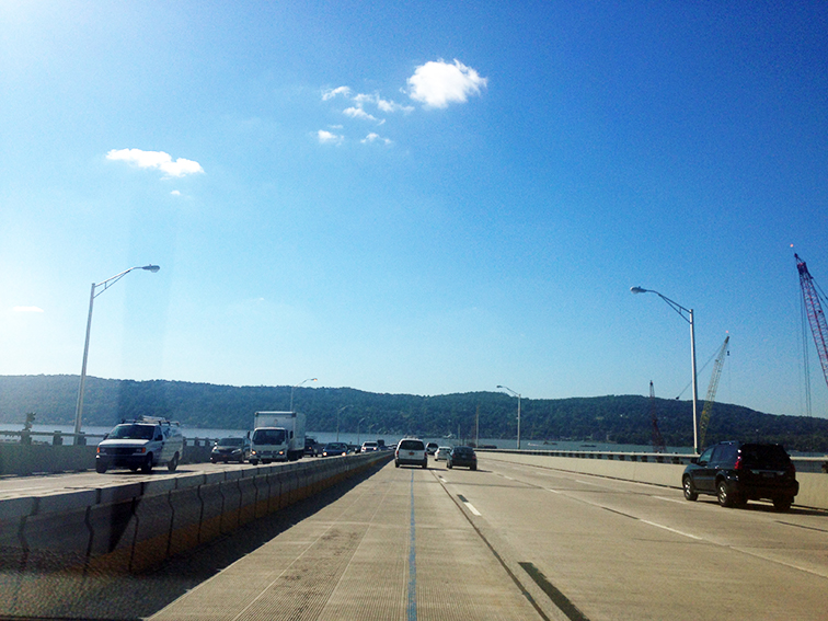 View from the Tappan Zee bridge, open road, fall road trip