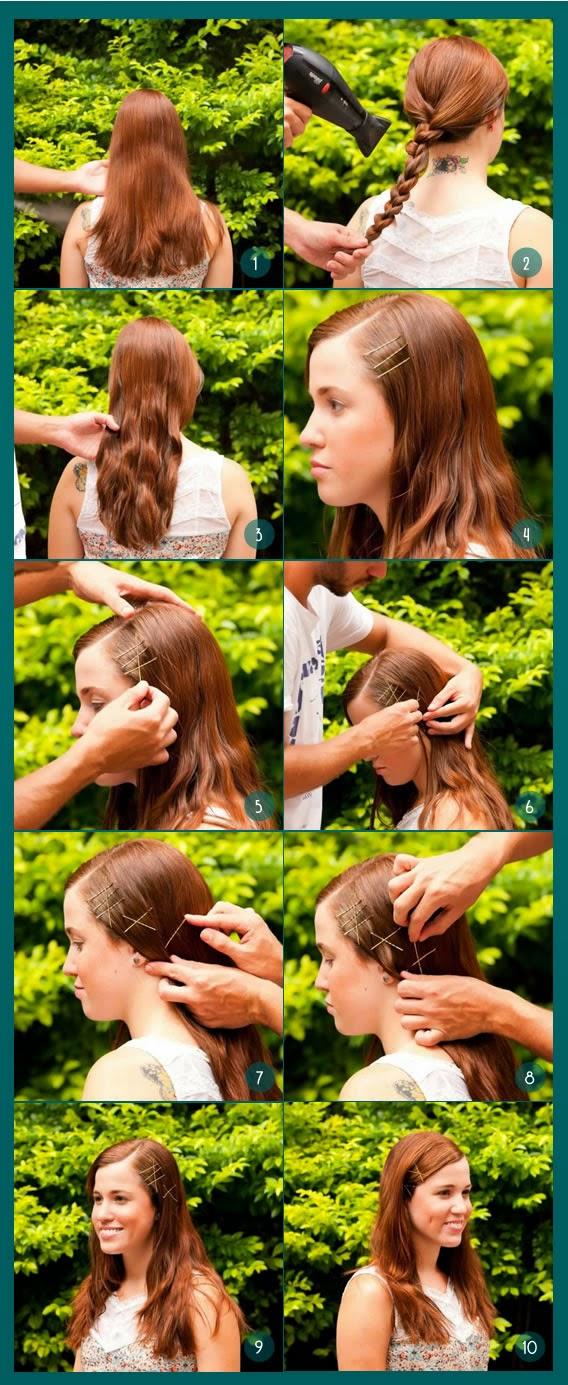 Penteado com grampos aparentes