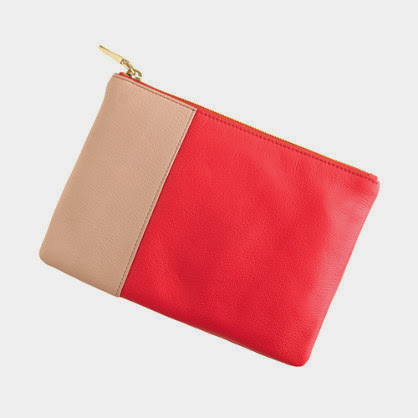 Red color block clutch purse