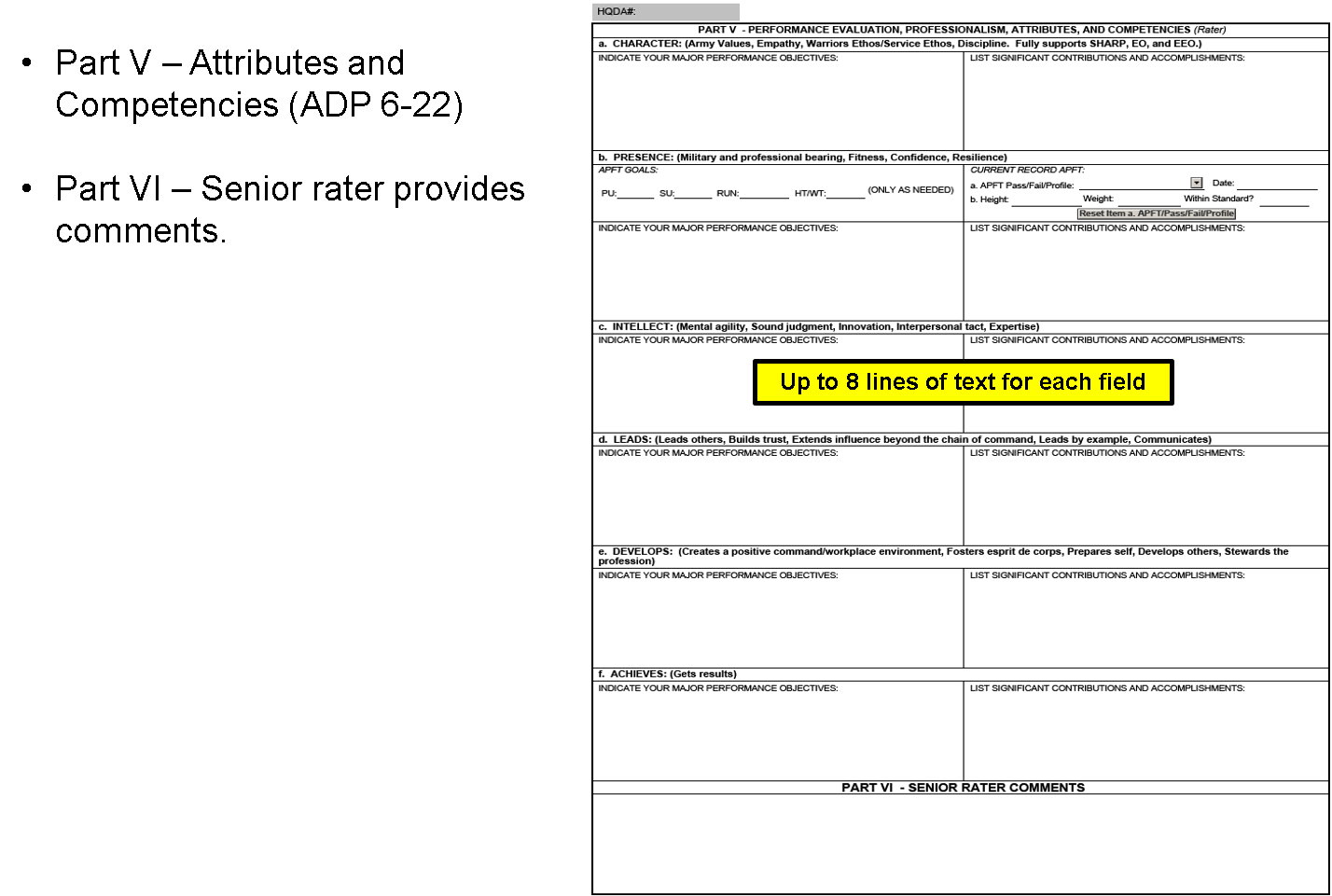 New NCOER Support Form DA 2166-9 Series