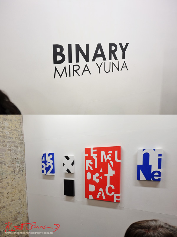 Art pieces, Mira Yuna at 'BINARY' China Heights Gallery. Photo by Kent Johnson.
