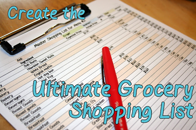 grocery shopping list frugal planning organization
