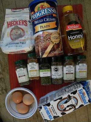 flour breadcrumbs eggs milk honey spices