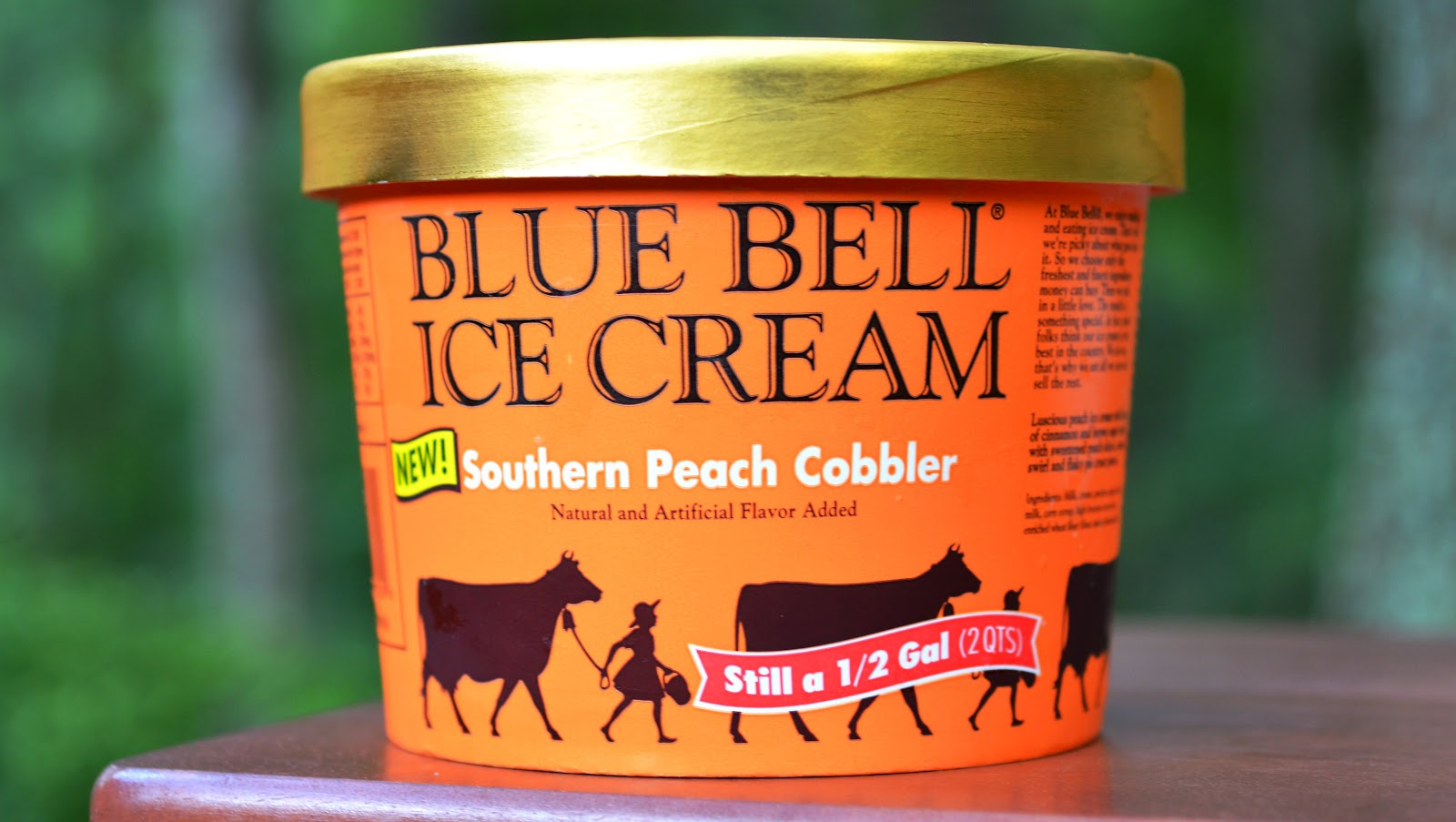 food and ice cream recipes REVIEW Blue Bell Southern Peach Cobbler