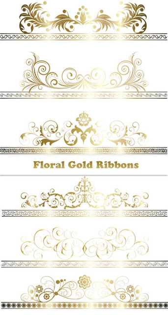 Floral Gold Ribbons