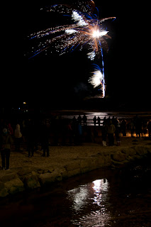 Firework displays on the beach Cornwall