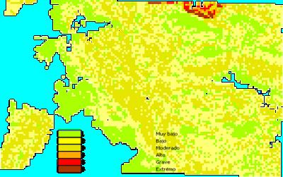 Mapa de riesgo potencial de incendios