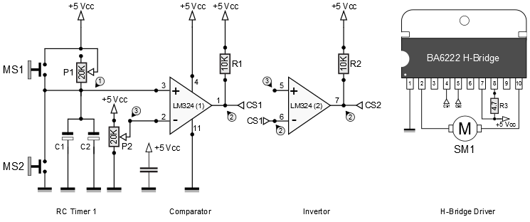 monostable multivibrator as analog differential motion controller