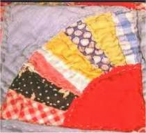 Fan quilt block showing typical 1940s and 1950s fabrics.