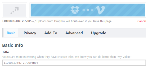 Vimeo Dropbox Upload 09