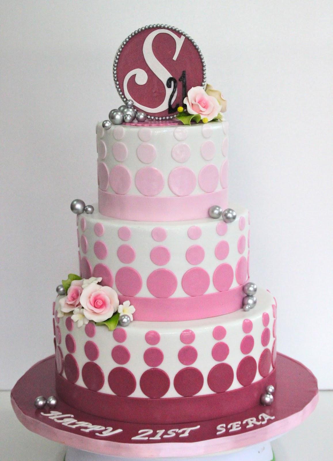 Celebrate With Cake Pink 21st Birthday Cake