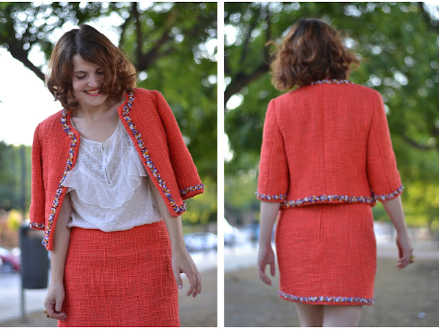 red bouclé outfit, tweed, jacket, skirt, beading