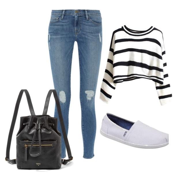 Jean sencillos rasgados en las rodillas, un par de alpargatas blancas y un Top suelto a rayas, te dará un look juvenil, sencillo pero a la moda,