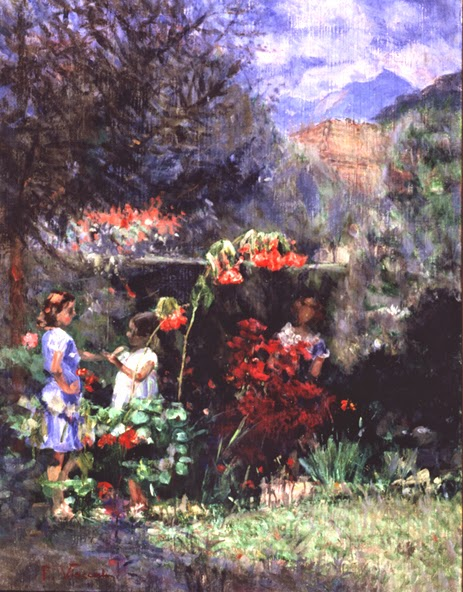 pintura de meninas no jardim