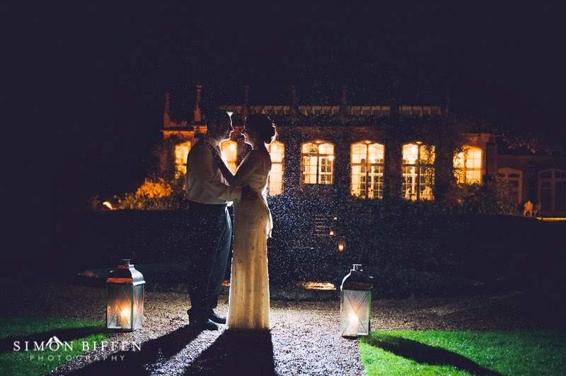 Bride and Groom night portrait at St Audries Park wedding