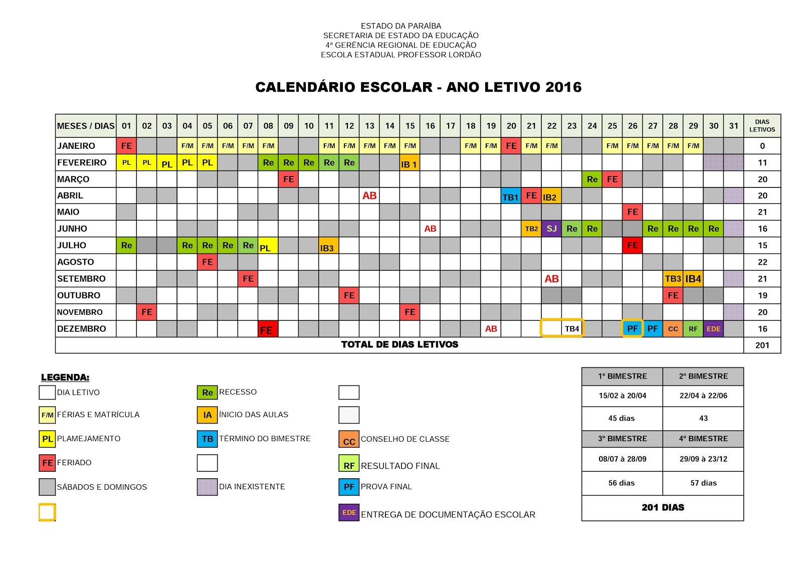 Calendário Escolar - 2016