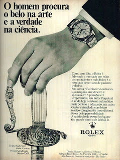 propaganda relógios Rolex - 1973.  Moda anos 70; propaganda anos 70; história da década de 70; reclames anos 70; brazil in the 70s; Oswaldo Hernandez
