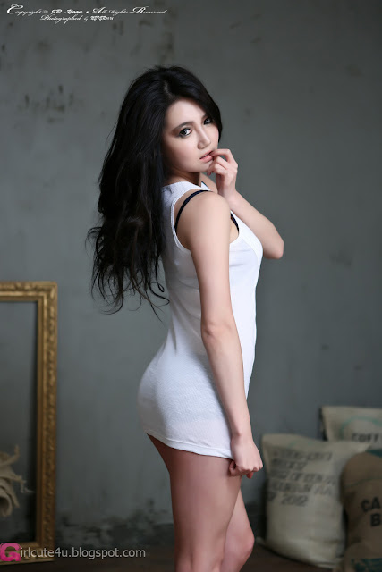 3 Han Ga Eun - White Mini Dress - very cute asian girl - girlcute4u.blogspot.com