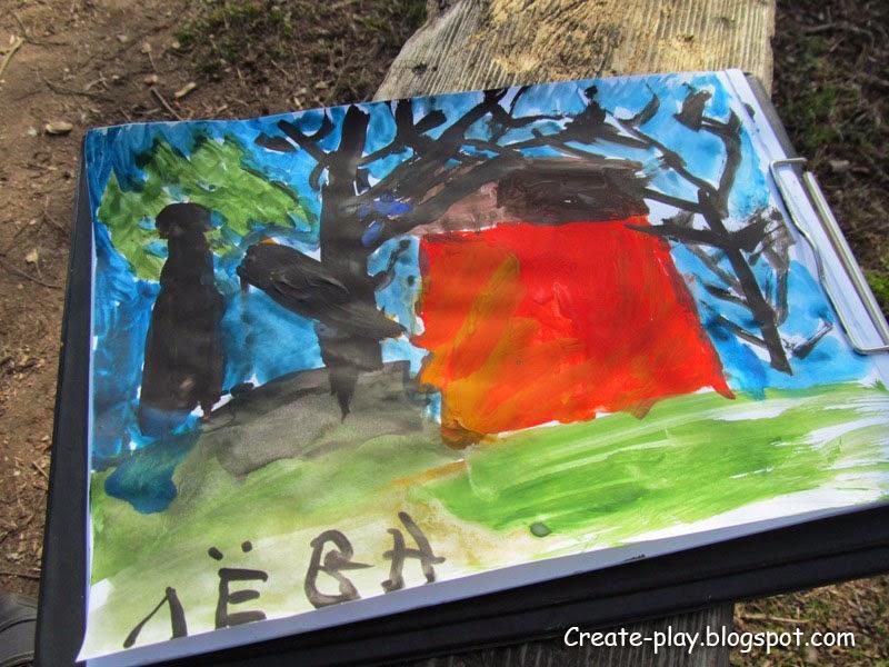 детский рисунок лес