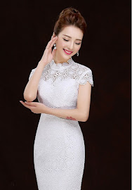 Allover Crochet Lace Mermaid Long Cheongsam
