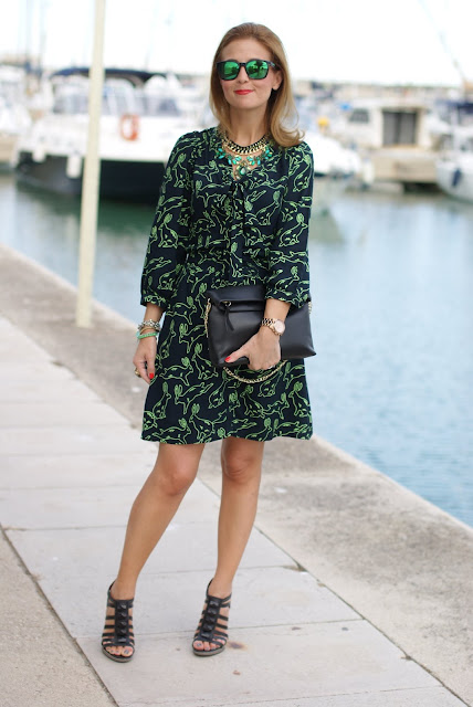 rabbit print dress, Cesare Paciotti, Zara clutch, Oakley, Fashion and Cookies, fashion blogger