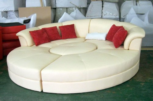 Haram Furniture Modern Round Style Soft Yellow Leather Sectional Sofa Bed