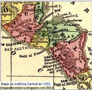 MAPA DE CENTROAMERICA DEL AÑO 1860