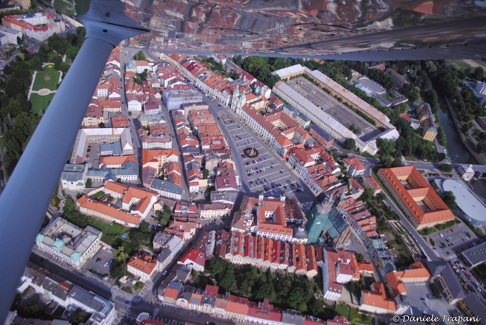 Vista aerea del centro storico di Hradec Králové