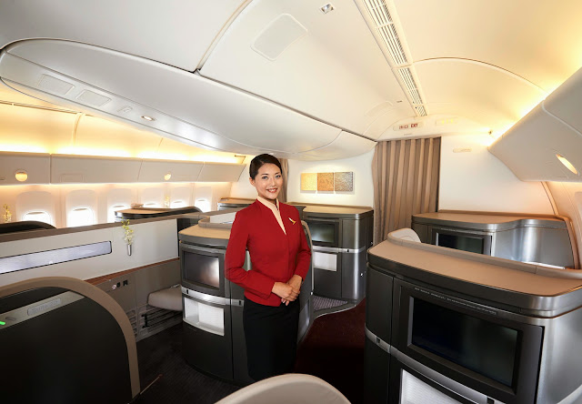 New Cathay Pacific First Class cabin from the back