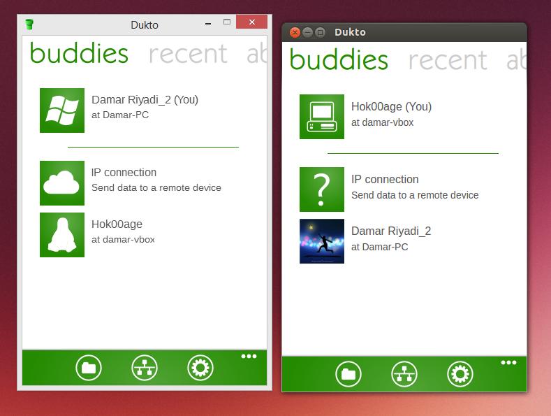 Dukto berjalan di Windows dan Linux