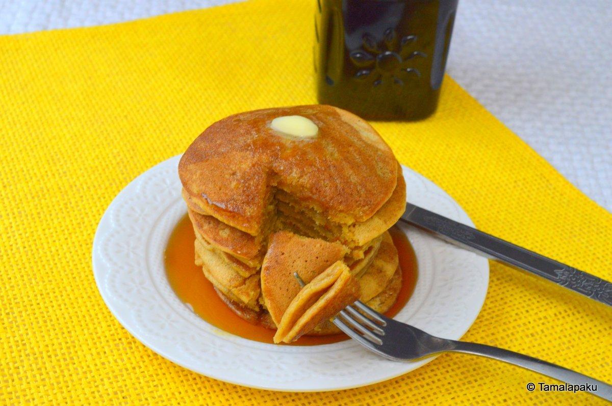 Eggless Pumpkin Spice Pancakes ~ Tamalapaku