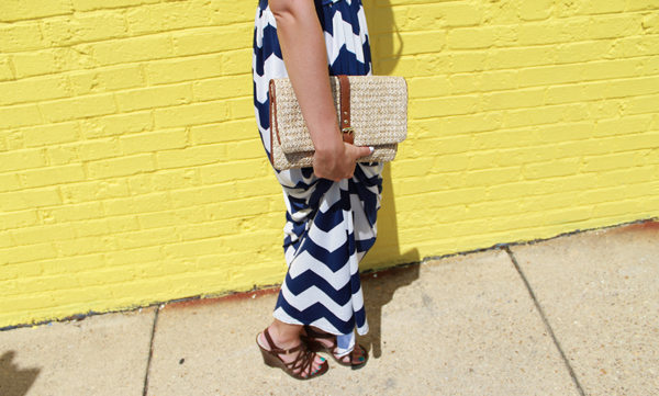 Windsor chevron maxi dress, Gap clutch, straw clutch, nine west wedges