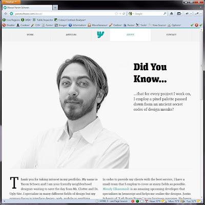 Screen shot of http://yaronschoen.com/about/.
