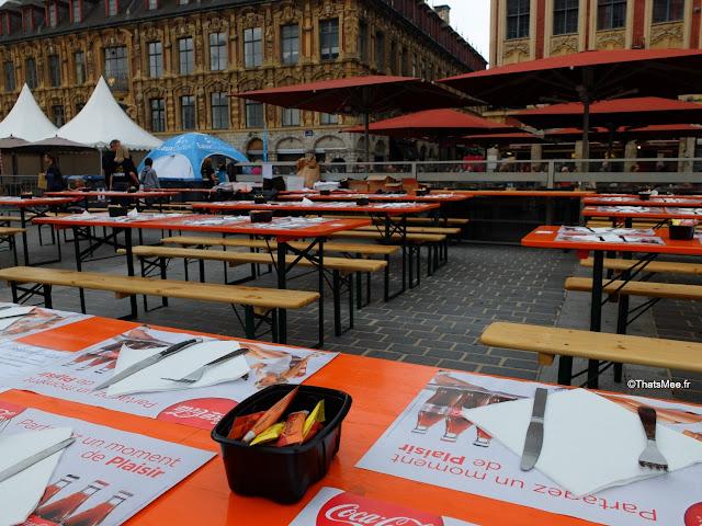 Braderie de LiIle 2014 et 2015, Brasserie moule-frites en plein-air tables ThatsMee.fr